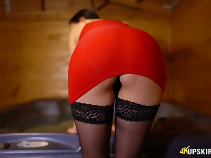 Sexy booty belonged to kinky brunette is flashed by aroused beauty