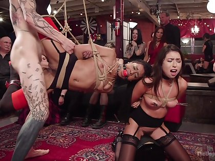 Upper floor orgy for the hungry bitches in full obedience