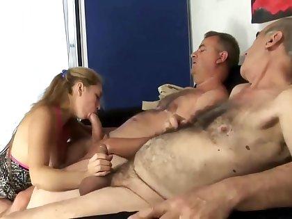 Husband sharing his dirty juicy milf with old granpa
