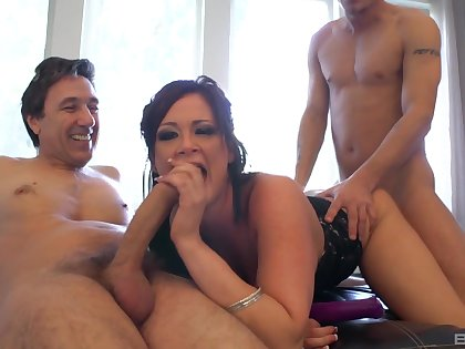 MILF deals two big cocks all over a smashing threesome
