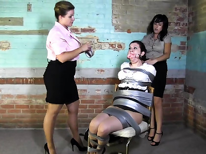 Lesbian BDSM Chained increased by Electro Harrowing MILF Related