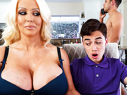 Busty stepmom interested to taste schoolboy's dig up