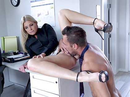 Female boss calls in the new guy for a bit of intercourse