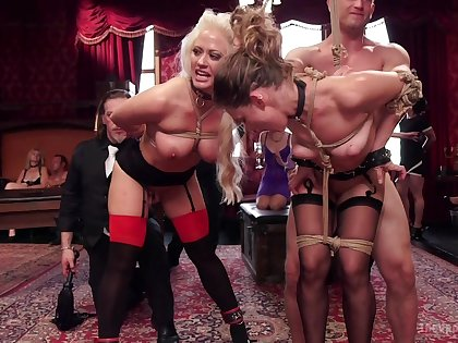 Naked women posing hot coupled with submissive during insane orgy