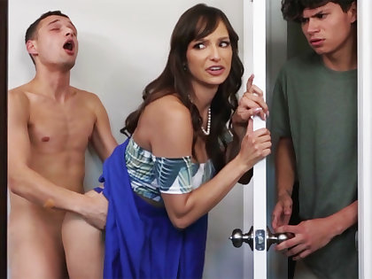 Take charge MILF seduces her stepson's shy team up