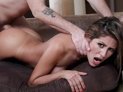 Busty female moans hard with endless inches working her G word
