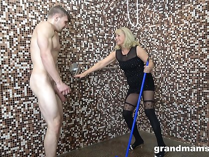 Nasty mature amateur takes a dick in her trotters added to gives a rimjob
