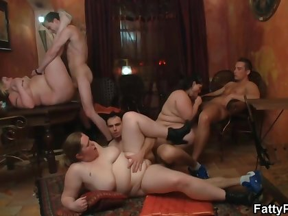 Fat babe is getting nailed during a private orgy and enjoying every single second of it