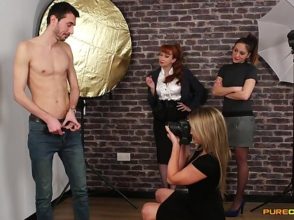 Skinny man gets undressed and filmed by Samantha and Sienna