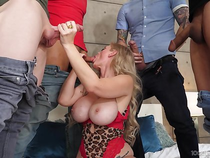Busty MILF gang banged and made to swallow rivers of jizz