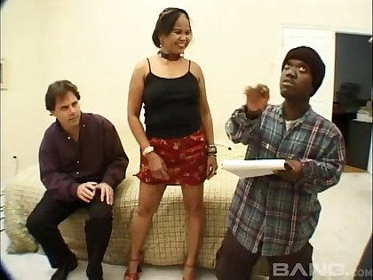 Dirty porn video with a slut getting fucked by her man and a midget