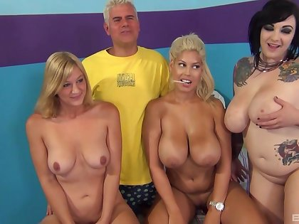 Bridgette B and her sweltering friends get fucked away from one lucky dude