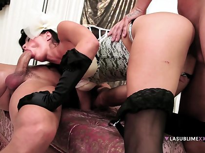 Nasty wife Valentina Canali wanted to loathe fucked by two cocks