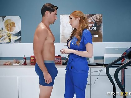 Super sexy red haired milf in medical uniform Lauren Phillips is fucked unconnected with hot blooded patient
